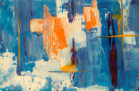 Blue, White, and Orange Abstract Painting